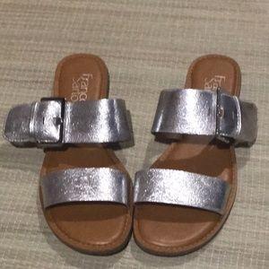 Franco Sarto Silver Flat Sandals
